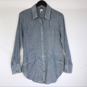 WE THE FREE Chambray Gauze Denim Button Down Top